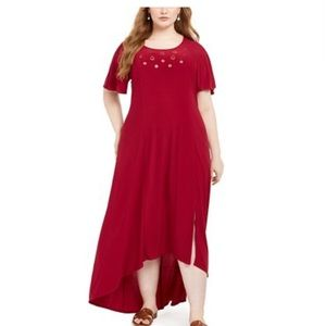 NY collection maroon high-lo hem grommet dress!